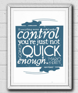 F1 Print Mario Andretti Hand Drawn Typographic Quote Illustration