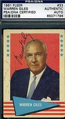 Warren Giles Signed 1961 Fleer Autograph Authentic - Psa/Dna Certified ...