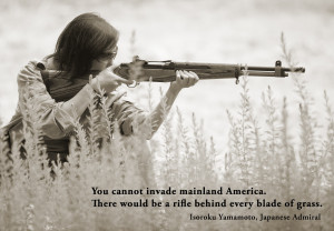 Rifle behind every blade of grass
