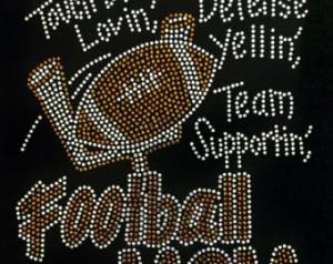 Football RhinestoneTouch Down Football Mom Rhinestone T-shirt With ...