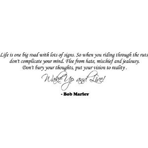 BOB MARLEY QUOTE WAKE UP AND LIVE VINYL WORD DECAL
