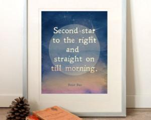 PRINTABLE Art, Printable Quote (INS TANT DOWNLOAD) Peter Pan, night ...