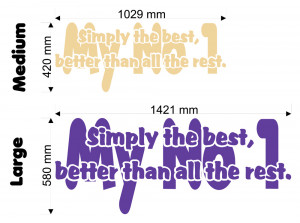 Simply The Best My No 1 (Tina Turner) Lyric wall decal size chart