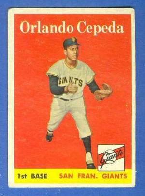 1958 Topps #343 Orlando Cepeda ROOKIE (Giants) Baseball cards value