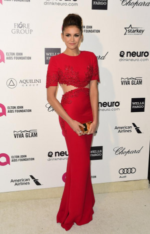 Nina Dobrev arrives at the 2015 Elton John AIDS Foundation Oscar party ...