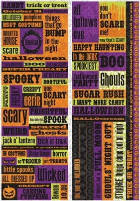 Halloween Cardstock Scrapbooking Quotes and Borders Stickers (extra ...