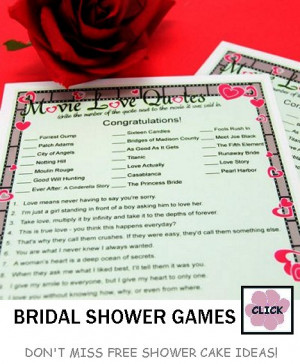 An old favorite is Bridal Bingo with the cards already printed and ...