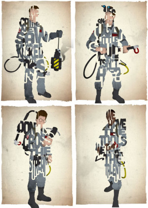 STANDARD SIZE Set of 4 Ghostbusters typography prints based on quotes ...
