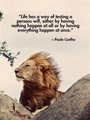 ... happen at all, or by having everything happen at once. ~Paulo Coelho