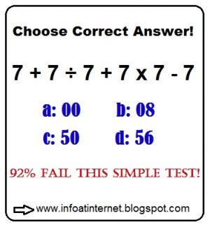 Simple Math Quiz (7+7/7+7x7+7=?)