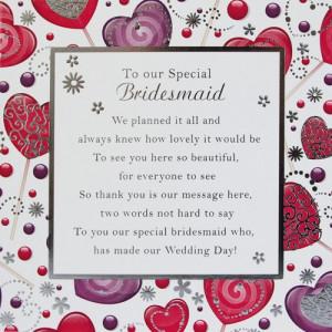 Special Bridesmaid Card Medium - 150mm x 150mm