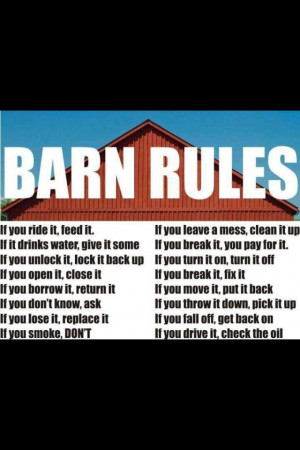 country girls hors quotes future barns house rules barns rules country ...