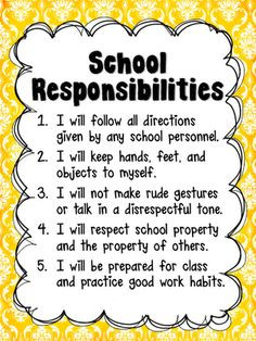 Responsibility posters for classroom, bathroom, cafeteria, & hallway