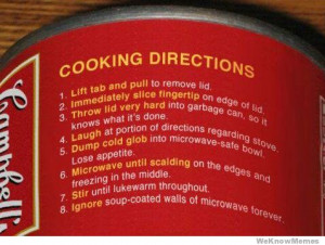 Funny Cooking Directions.