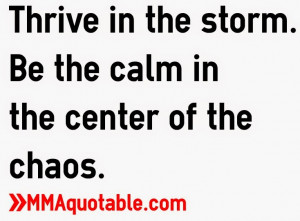 Thrive in the storm. Be the calm in the center of the chaos.