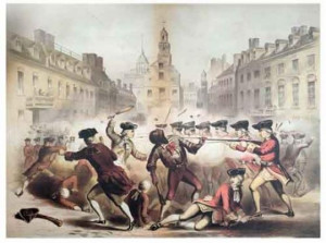 ... painting of Crispus Attucks' death in the Boston Massacre of 1770