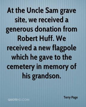 At the Uncle Sam grave site, we received a generous donation from ...