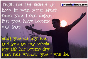 Romantic status picture – Without you I will die