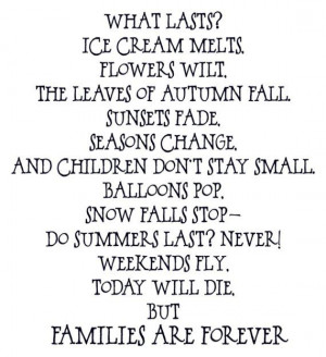 Families are Forever Poem