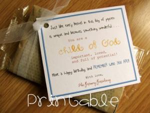 Printable- PDF- Child of God Popcorn- Birthday Gift Idea