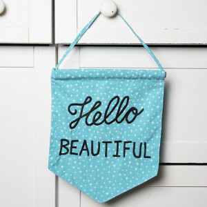 hello beautiful pastel message flag blue the bright blue of this hello ...