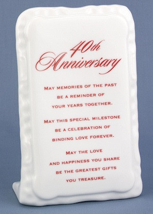 40th Anniversary Poem Plaque (Hortense B Hewitt 47104) | Buy at ...