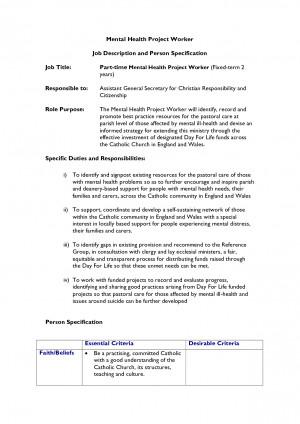 Job Description And Person