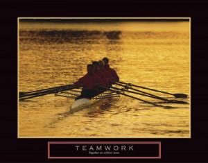 Teamwork Crew Rowers Motivational Poster Print - 28x22