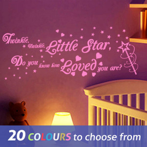 LARGE TWINKLE TWINKLE LITTLE STAR quote and magic wand design vinyl ...