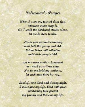 Police Officer's Prayer Poem for Policemen Digital INSTANT DOWNLOAD ...