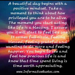 Beautiful Day Begins With A Beautiful Mindset Quote A beautiful day ...