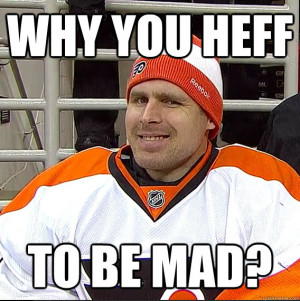 So here we find Bryzgalov trying to defend his teammate and diffuse ...