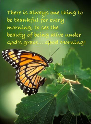 to be thankful for every morning, to see the beauty of being alive ...
