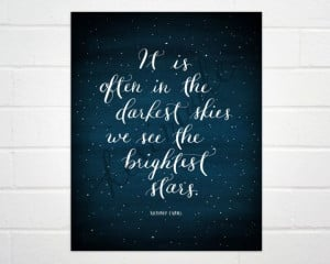 Bright Stars quote, 8x10 art print, calligraphy, watercolor, wall ...