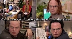 christmas, dwight, dwight schrute, season 7, the office, wigs
