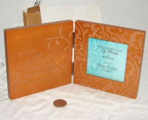 Maya Angelou Quote 3x3 PICTURE FRAME by Hallmark 2003, Engraved Wood