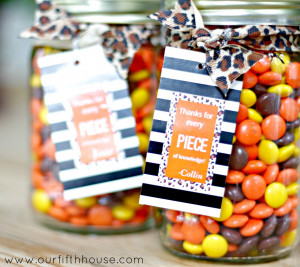 reese's pieces teacher gift idea from Our Fifth House