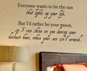 Wants Be Sun Moon Love Bedroom Family Decorative Vinyl Lettering Quote ...