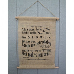 Mark Twain Inspirational Quote Wall Hanging Burlap by AspieTees, $14 ...
