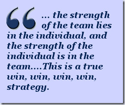 ... team lies in the individual, and the strength of the individual is in