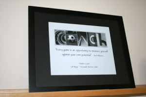 ... with black mat and black 11x14 inch frame custom quote and thank you