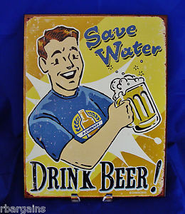 ... -DRINK-WATER-Funny-Quotes-Metal-Tin-Sign-Bar-Pub-Wall-Man-Cave-Decor