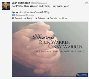 Social Media Good Surrounding Rick Warren Son's Suicide