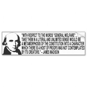 James Madison Quote Bumper Sticker Car Bumper Sticker