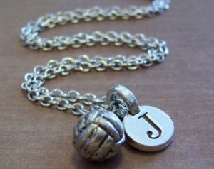 Volleyball Charm Necklace, Personal ized Volleyball Jewelry, Sport ...