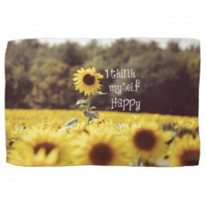 Happy Bible Verse with Sunflowers Kitchen Towels by Christian_Quote