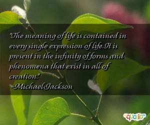 The meaning of life is contained in every single expression of life ...