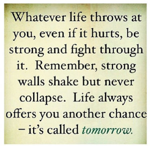 Life always offers you another chance - it's called tomorrow.