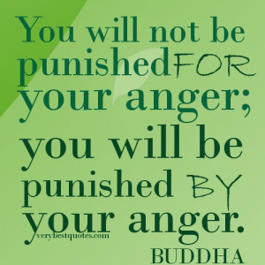 Buddha Quotes.You will not be punished for your anger; you will be ...