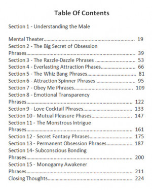 Obsession Phrases PDF Table of Contents